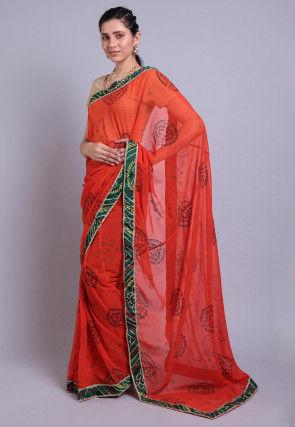 Bandhej Printed Georgette Saree in Orange