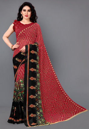 Bandhej Printed Georgette Saree in Red and Black
