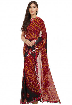 Bandhej Printed Georgette Saree in Red and Black