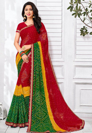 Bandhej Printed Georgette Saree in Red and Green