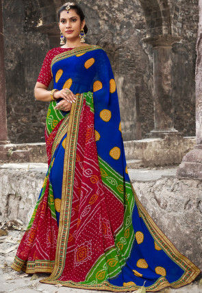 Bandhej Printed Georgette Saree in Royal Blue and Red
