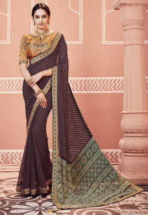 Bandhej Printed Georgette Saree in Wine