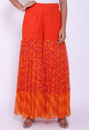Bandhej Printed Georgette Sharara in Orange