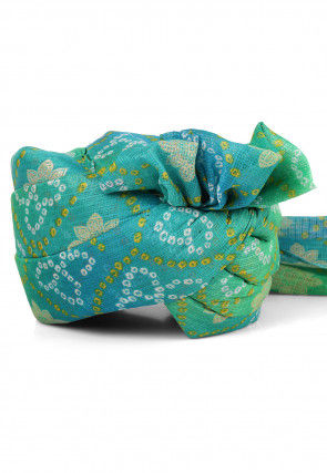 Bandhej Printed Kota Doria Turban in Sea Green and Sky Blue
