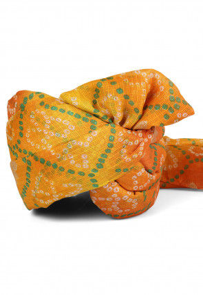 Bandhej Printed Kota Doria Turban in Shaded Yellow and Orange