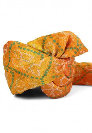 Bandhej Printed Kota Doria Turban in Shaded Yellow and Orange