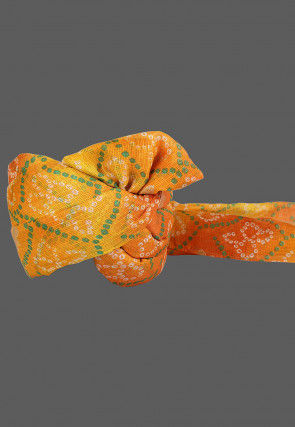 Bandhej Printed Kota Doria Kids Turban in Mustard and Orange