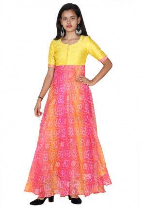 Bandhej Printed Kota Silk A Line Kurta in Pink and Orange