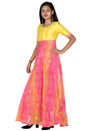 Bandhej Printed Kota Silk A Line Kurta Set in Yellow and Pink