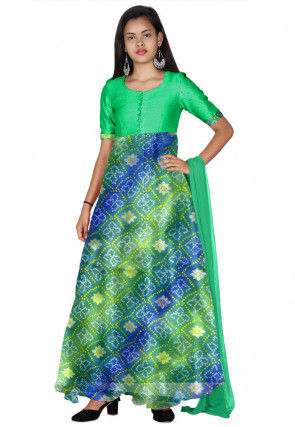 Bandhej Printed Kota Silk Abaya Style Suit in Green and Blue