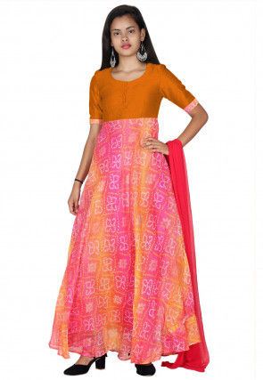 Bandhej Printed Kota Silk Abaya Style Suit in Pink and Orange