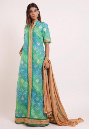 Bandhej Printed Kota Silk Abaya Style Suit in Shaded Green And Blue