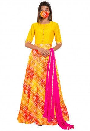 Bandhej Printed Kota Silk Abaya Style Suit in Yellow