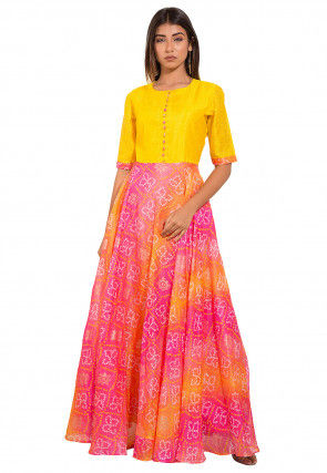 Bandhej Printed Kota Silk Gown in Yellow and Pink