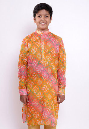 Bandhej Printed Kota Silk Kurta in Shaded Orange and Pink