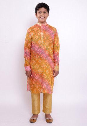 Bandhej Printed Kota Silk Kurta Set in Shaded Orange and Pink