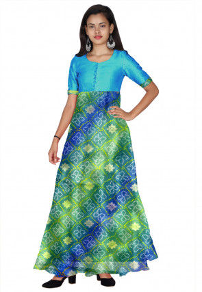 Bandhej Printed Kota Silk Long Kurta in Green and Blue