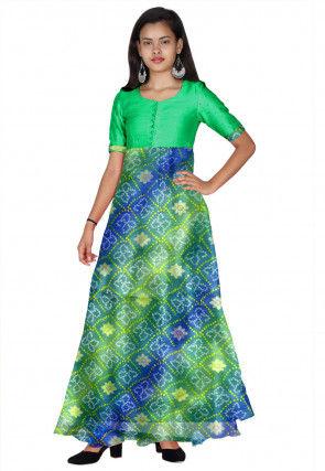 Bandhej Printed Kota Silk Long Kurta Set in Green and Blue