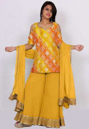 Bandhej Printed Kota Silk Pakistani Suit in Mustard and Orange