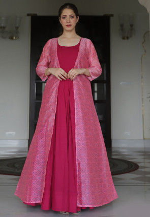 Bandhej Printed Muslin Cotton Gown in Pink