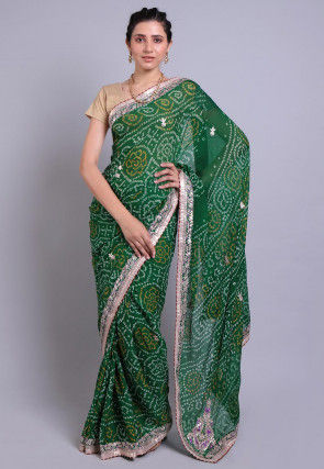 Bandhej Printed Pure Chinon Crepe Saree in Dark Green