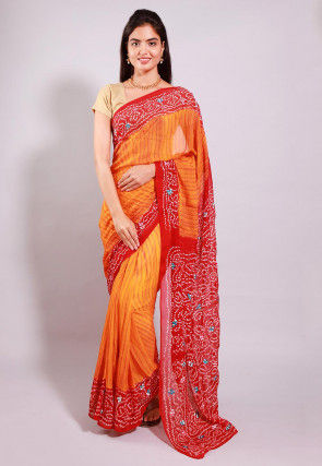 Bandhej Printed Pure Chinon Crepe Saree in Orange and Red