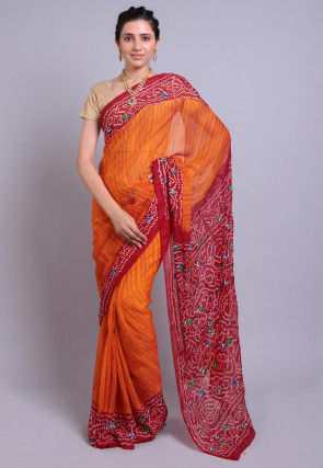 Bandhej Printed Pure Chinon Crepe Saree in Orange