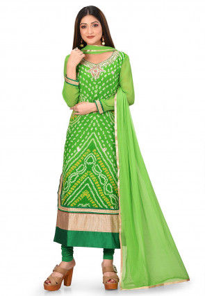 Bandhej Printed Pure Chinon Crepe Straight Suit in Light Green