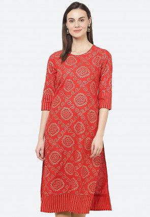 Bandhej Printed Rayon Straight Kurta in Red