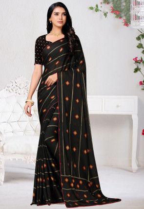 Bandhej Printed Satin Chiffon Saree in Black