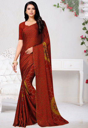 Bandhej Printed Satin Chiffon Saree in Dark Rust