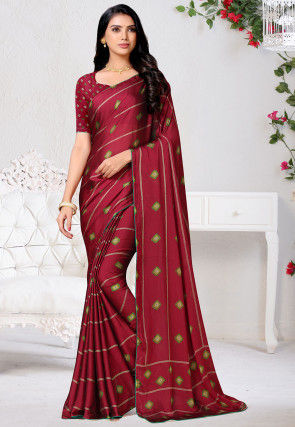 Bandhej Printed Satin Chiffon Saree in Wine