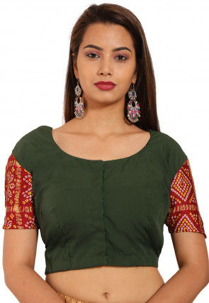 Bandhej Printed Sleeve Crepe Blouse in Dark Green and Maroon
