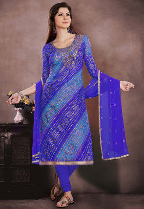 Bandhej Printed Super Net Straight Suit in Blue