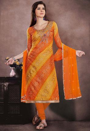 Bandhej Printed Super Net Straight Suit in Orange