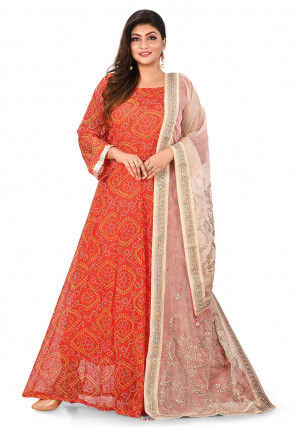 Bandhej Printed Viscose Georgette Abaya Style Suit in Orange