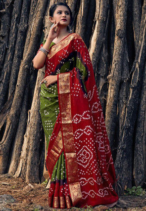 Bandhej Printed Viscose Saree in Olive Green and Red