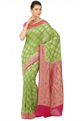 Bandhej Pure Banarasi Georgette Silk Saree in Light Green