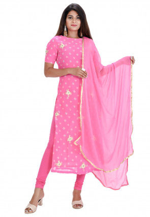 Bandhej Pure Chinon Chiffon Straight Suit in Pink
