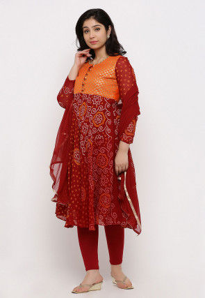 Bandhej Pure Chinon Crepe Flared Suit in Maroon and Orange