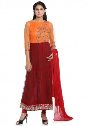 Bandhej Pure Georgette Anarkali Suit in Maroon and Orange