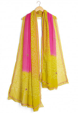 Bandhej Pure Georgette Dupatta in Pink and Olive Green