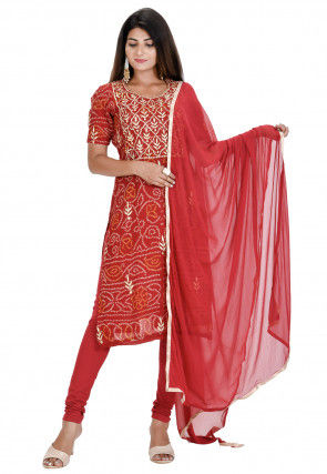 Bandhej Pure Georgette Straight Suit in Maroon