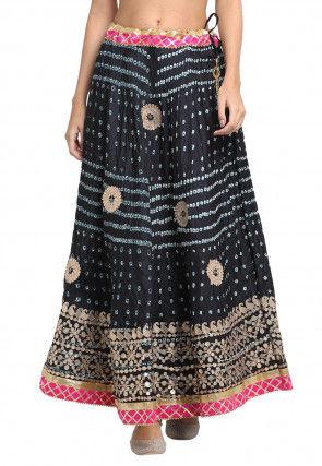 Bandhej Tafetta Silk Skirt in Black