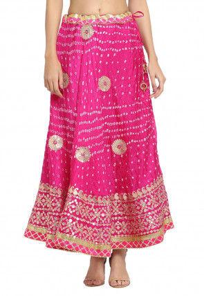 Bandhej Tafetta Silk Skirt in Fuchsia