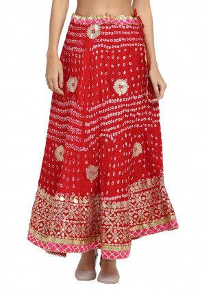 Bandhej Tafetta Silk Skirt in Red