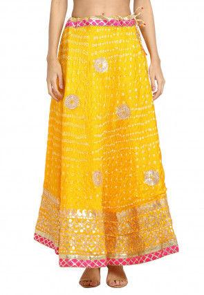 Bandhej Tafetta Silk Skirt in Yellow