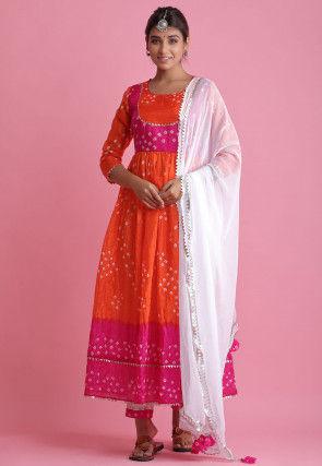 Bandhej Taffeta Silk Pakistani Suit in Orange and Pink