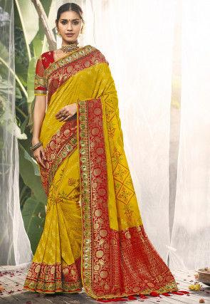 Bandhej Woven Art Silk Saree in Mustard