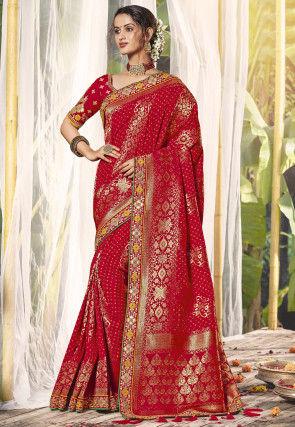 Bandhej Woven Art Silk Saree in Red